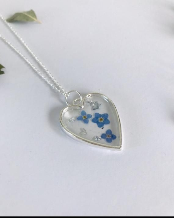 Photo of Forget Me Not Silver Plated Resin Necklace
