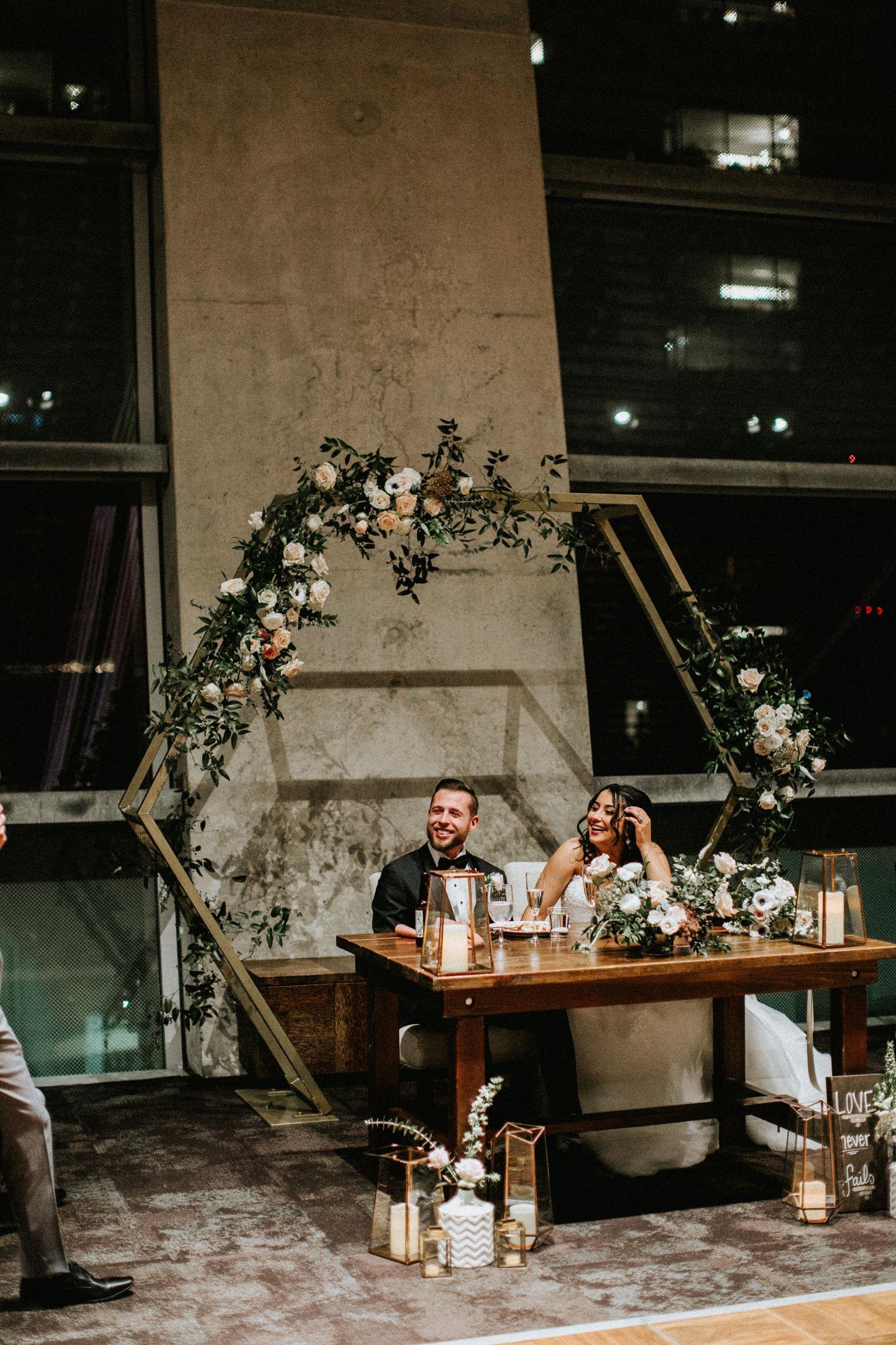 Hexagon Arch Venue San Diego Central Library Rentals Stecklair Events Hexagon Wedding Sweetheart Table Wedding Wedding Arch