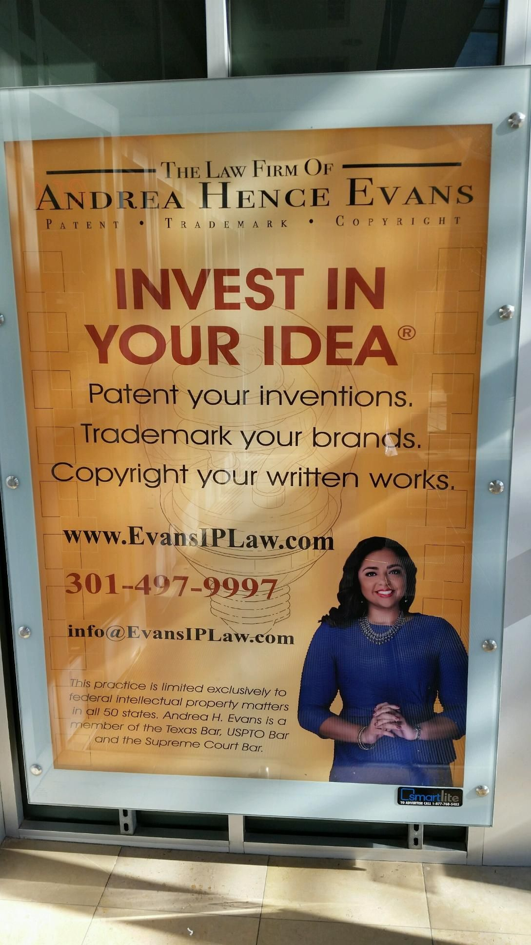 Ad in the Food Court Law firm, Investing, Firm