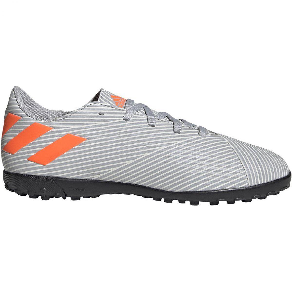 Buty Pilkarskie Adidas Nemeziz 19 4 Tf Jr Ef8306 Wielokolorowe Szare Football Shoes Shoes Adidas Football