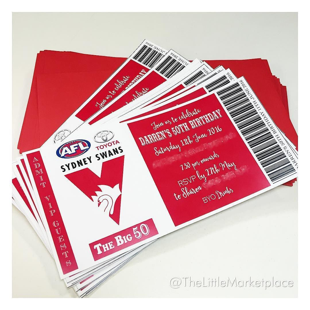 Sydney swans invitations made for a fanatical ss supporters 50th sydney swans invitations made for a fanatical ss supporters 50th birthday by thelittlemarketplace http filmwisefo