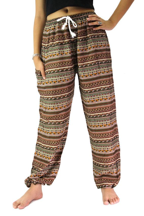 3eb765ed89459 unisex thai harem pants hippie pants boho clothing mix stripe design one  size fits all strenchy pants