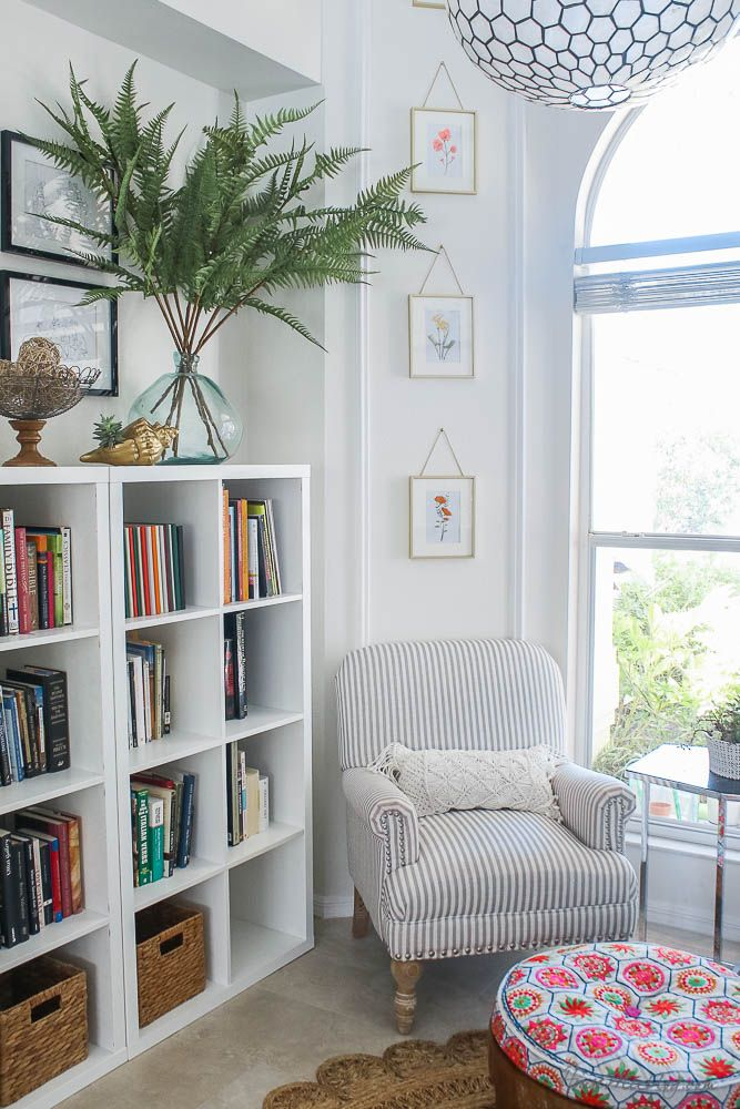 Photo of Reading nook with IKEA shelves