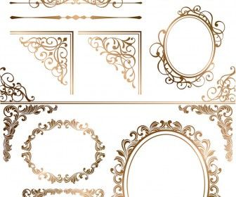 Gold ornamental elements and frames vector  Download is free