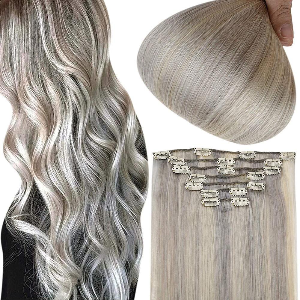 Bis zu 70% Rabatt auf Full Shine Clip in Extensions 100% Remy Echthaar 7 Stück Grau und Blond (#GreyP60) (Nur US-Adresse) – 18 100g / #GreyP60