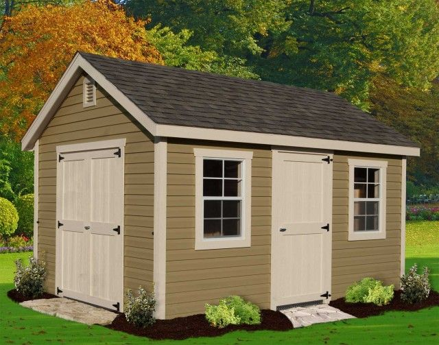 Simple Clean Front Door Offset Though By 1 Larger Or 2 Windows On Front 1 On Side With No Side Door Backyard Storage Sheds Shed Plans 12x16 Shed Plans