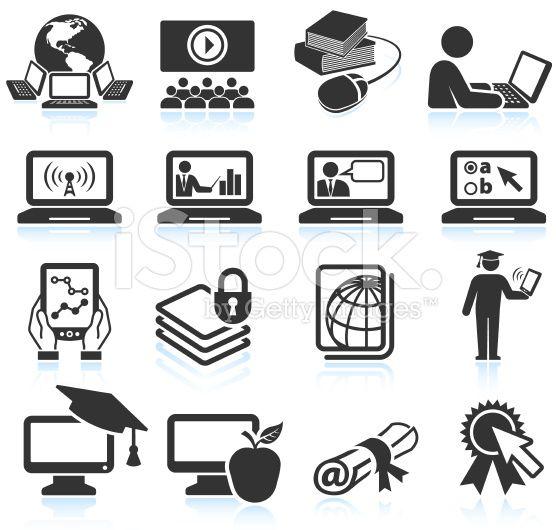Online Education Black White Icon Set With Images Icon Set