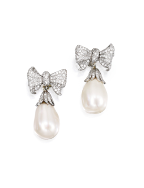 Pair of Platinum and Diamond 'Bowknot' Earclips, Verdura, 1988, With Cultured Pearl and Diamond Pendants - Sotheby's