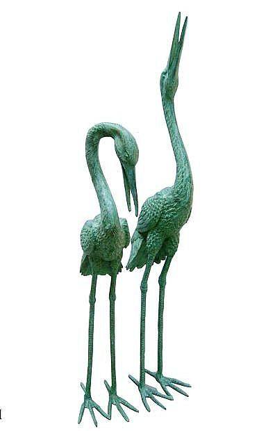Large Garden Cranes Pair In Bronze
