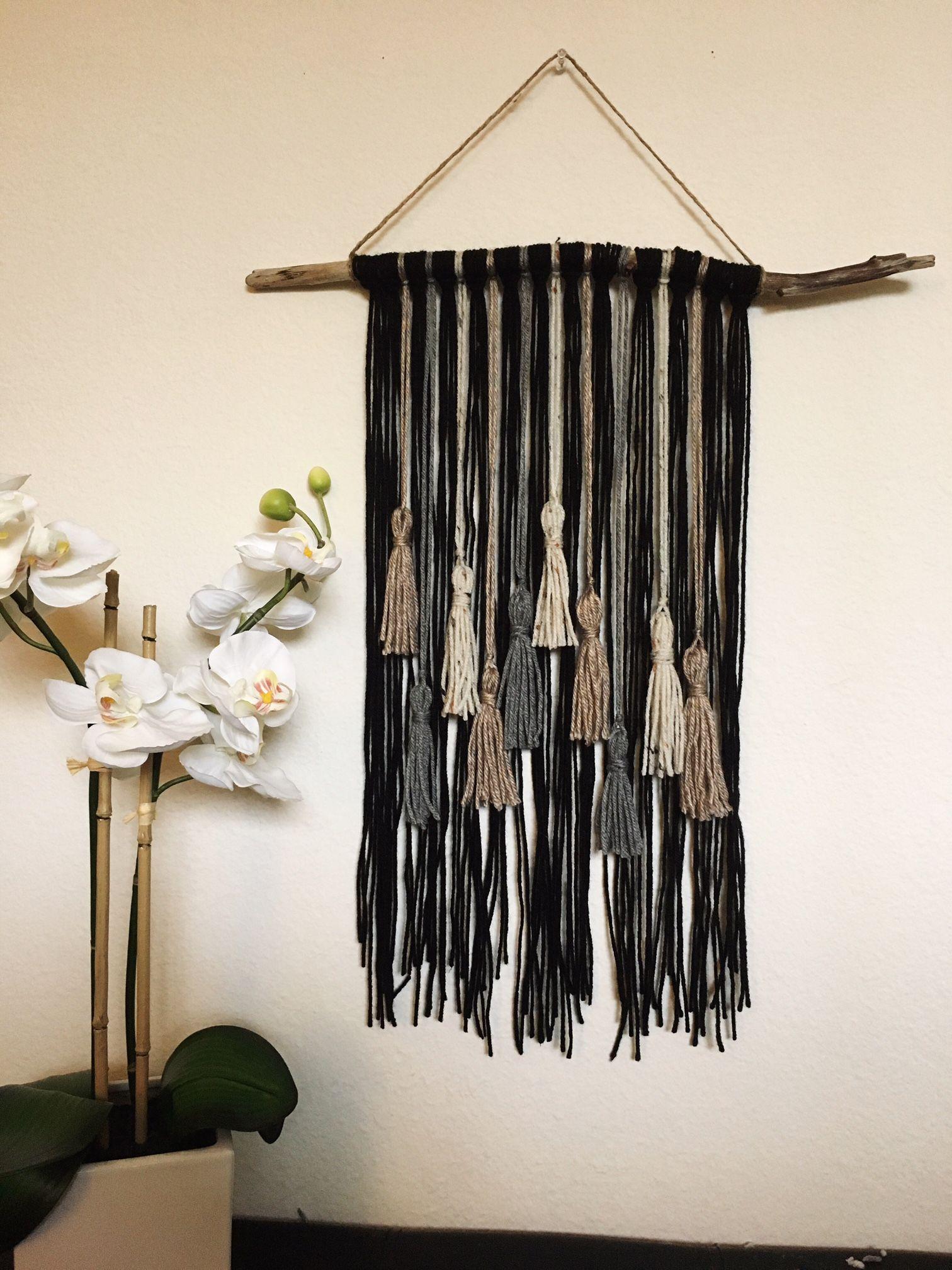 Black and Brown Yarn Hanging // Neutral Tassel Hanging // Neutral ...