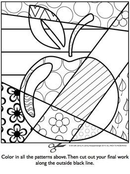 apple pop art interactive coloring sheet