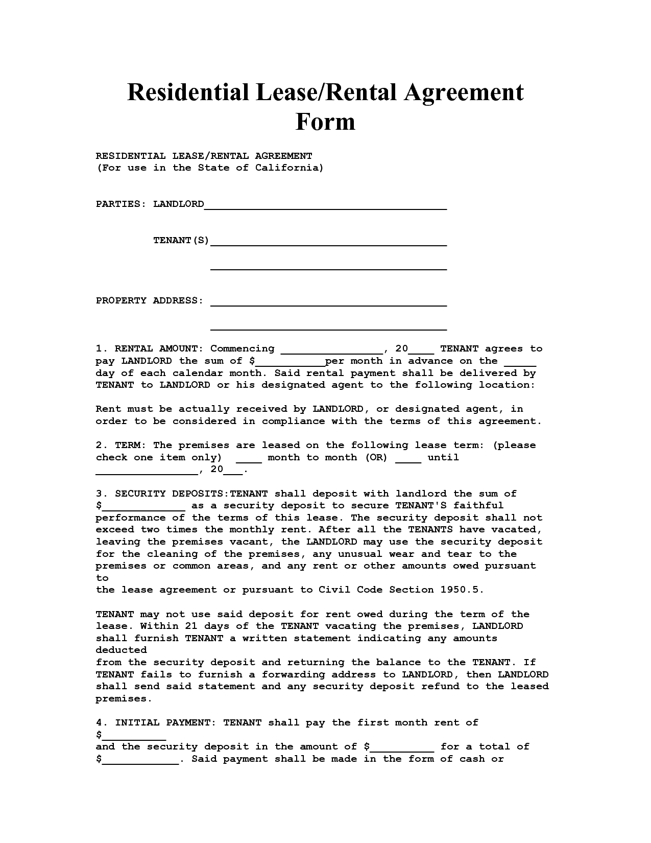California House Lease Agreement Form – Rental Lease Agreements