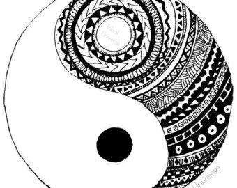 dripping yin yang - Yin Yang Coloring Page