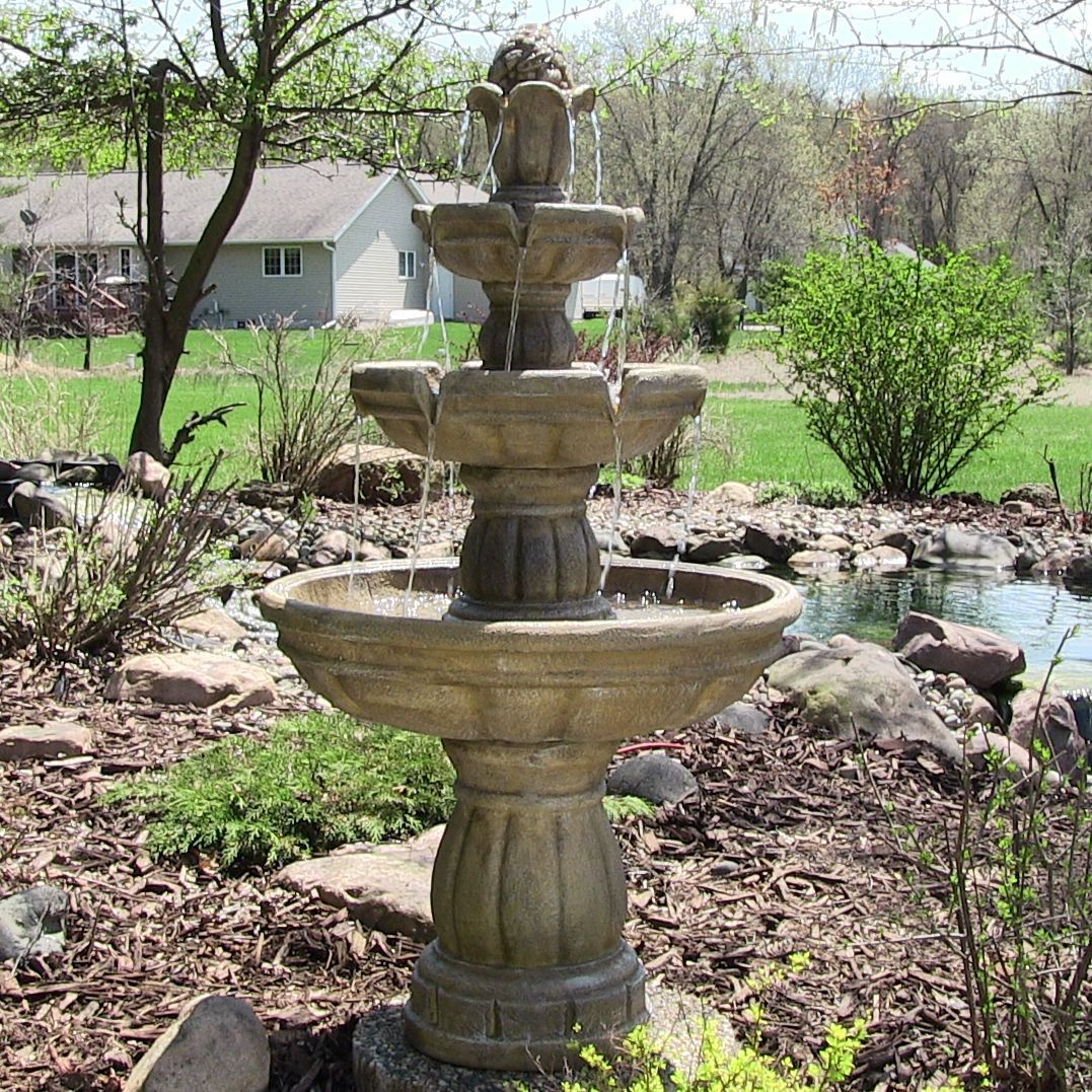 Outdoor Classic 3 Tier 48 Quot Tall Waterfalls Water Fountain For Garden Yard Decor Lawn Pati Garden Water Fountains Water Fountains Outdoor Fountains Outdoor