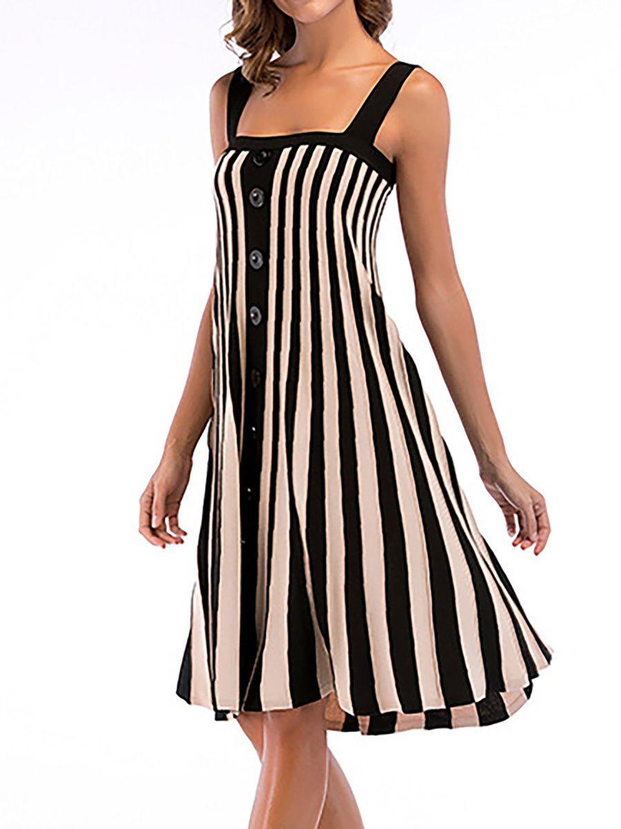 df1d1e3b350df JustFashionNow Black-white Women Casual Dress Swing Daytime Dress Spaghetti  Paneled Striped Dress