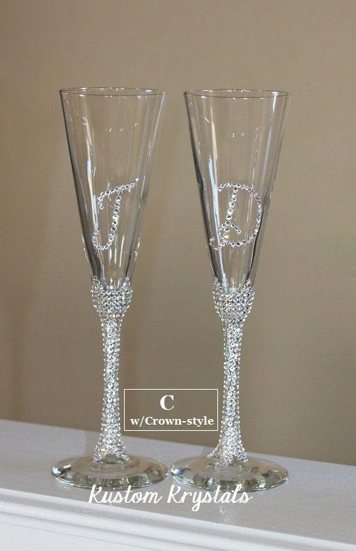 Swarovski Crystal Embellished Toasting Flutes Gles Champagne Custom Stem W