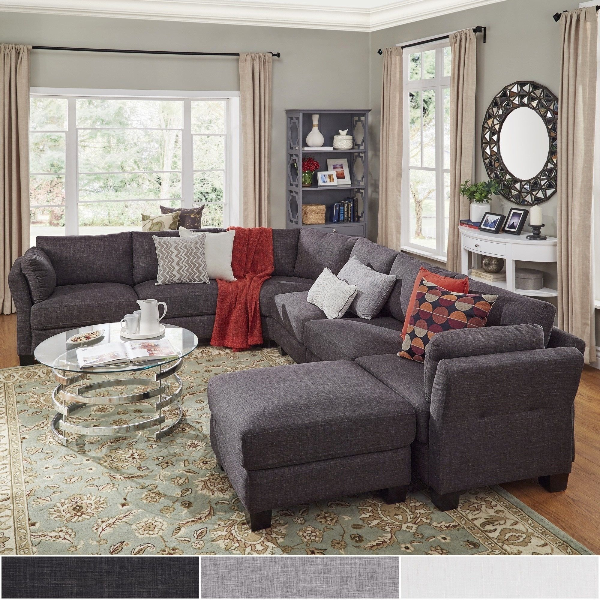 Elize U-Shaped Linen Fabric Modular Sectional Seating by Inspire Q (Dark  Grey Linen), Black