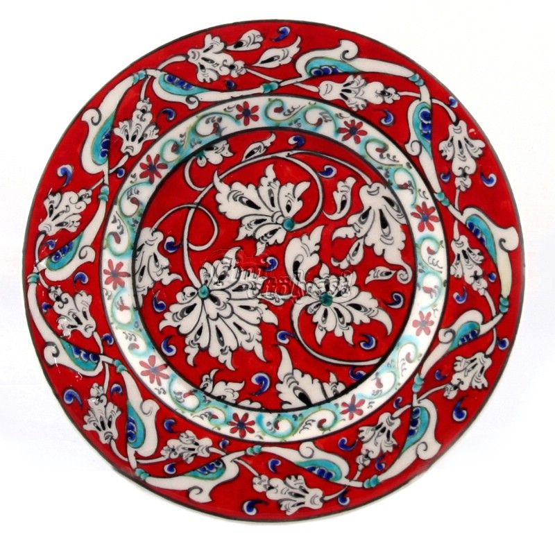 Lotus Patterned Tile Plate - Tile Workshop, Iznik tiles, Custom Tile Designs.