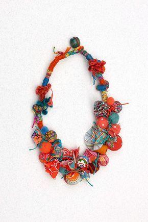 Collana di perline di istruzione in arancia e blu collana di tessili, chunky gioielli rustico OOAK
