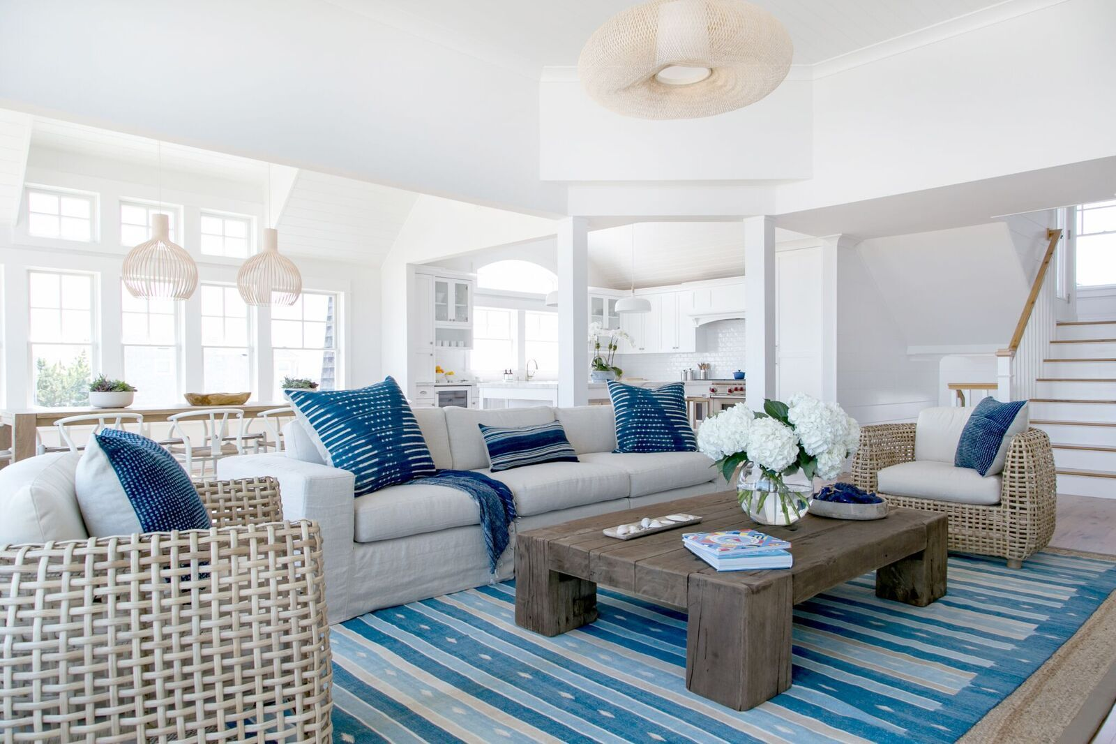 A Blue and White Nautical-Themed Living Room with Lots of Natural ...