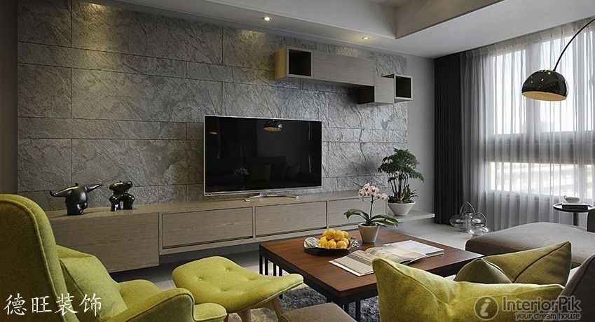 Minimalist tv background wall tiles decorate the living for Decorative wall tiles for living room