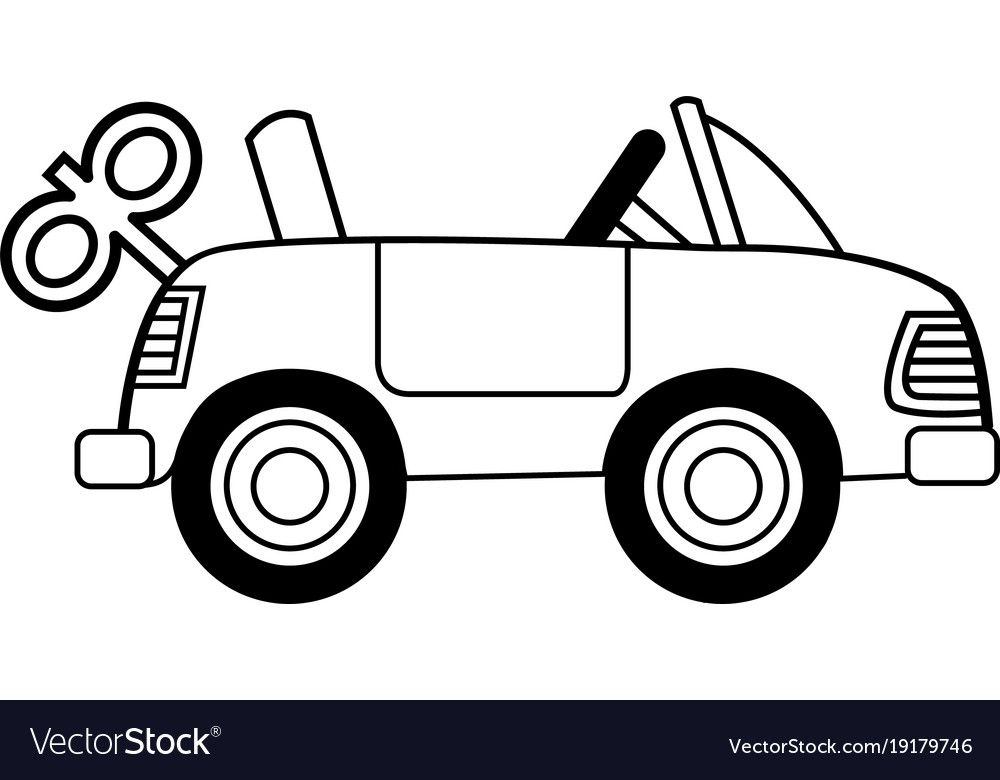 Black And White Illustration Of A Toy Wind Up Car Download A Free Preview Or High Quality Adobe Illus Clipart Black And White Clip Art Black And White Cartoon