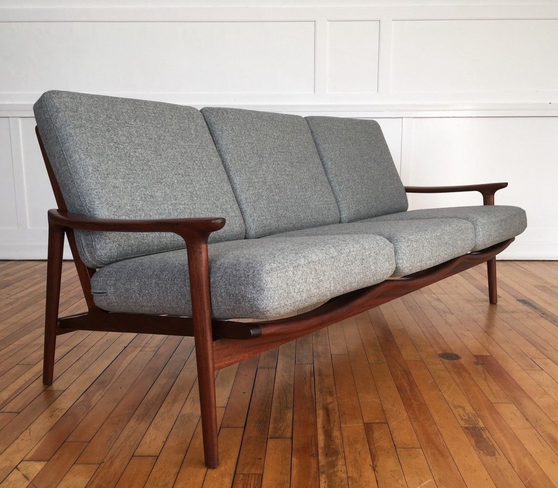 Midcentury British New Yorker Sofa In Wool By Guy Rogers 1960s