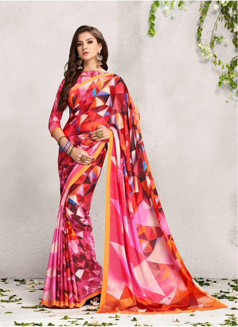 d9960510b38533 Modernistic Multi Colour Geometric Print Fabulous Saree