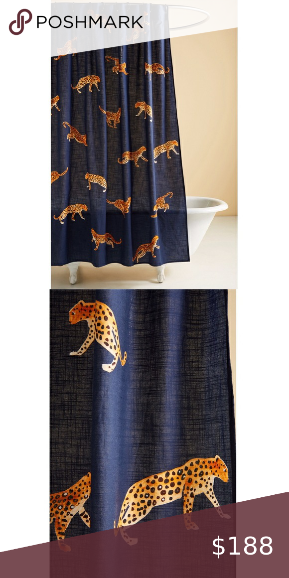 Sold Anthropologie Leopard Shower Curtain In 2020 Curtains