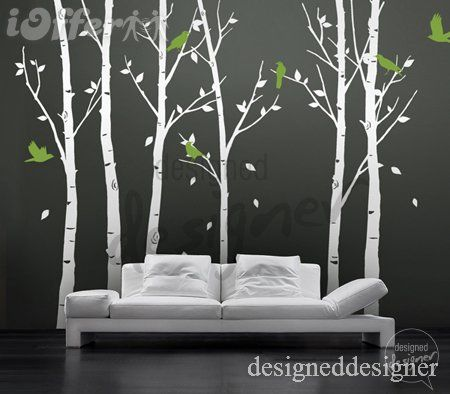 Delicieux Image Of Vinyl Wall Decal Sticker Art   Birds In The Urban Forest Tall 6  Leafy Trees   Large   For The Home