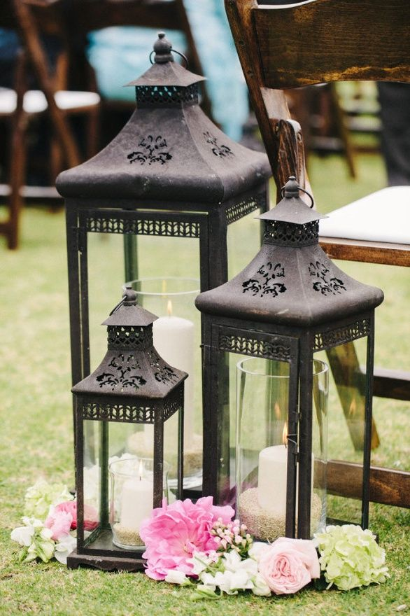 Pool decor - large and medium size silver lanterns with pillar ...