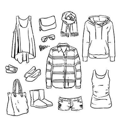 hand drawn clothing and accessories vector image on | ideen fürs zeichnen, technische zeichnung