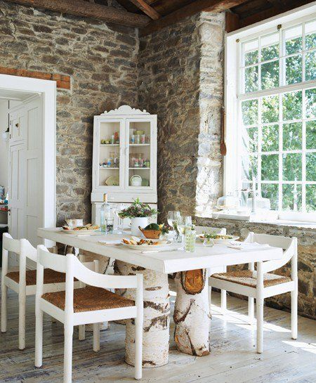 Refurbished schoolhouse that features this magnificent dining room full of texture & history via House & Home