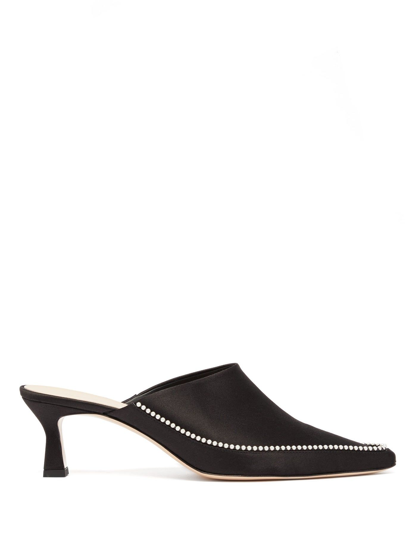 Bente Pearl Embellished Point Toe Satin Mules Wandler Matchesfashion Us In 2020 Evening Shoes Kitten Heels Black Leather