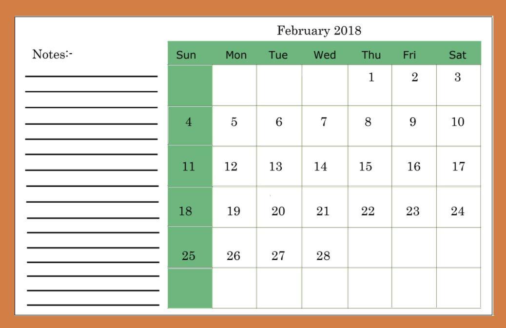 Calendar 2018 February Printable