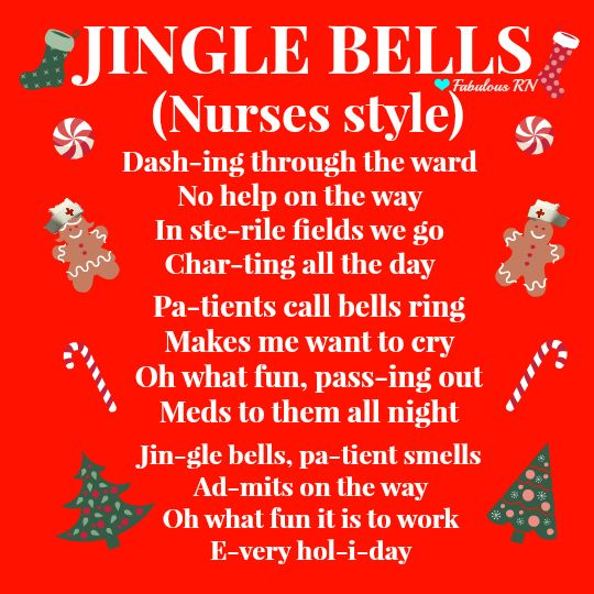 Jingle bells. Nurses style. Nurse humor. Nursing humor. Registered nurse. RN. Nursing life. Nurses funny. Christmas nurse style. Nurses' Christmas. Jingle Bells (Nurses Style). #nurseshirts Krankenschwestern, Arzthumor, Krankenschwesterwitze, Krankenschwester Woche, Schwesternschüler, Krankenpflegeschule, Kinderkrankenpflege, Abstillen Tipps, Krankenpflege Memes