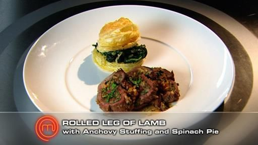 Rolled Leg of Lamb with Anchovy Stuffing and Spinach Pie