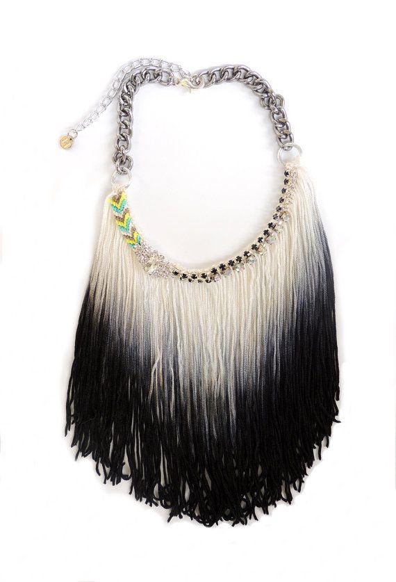 Big unique necklace original jewelry Ibiza by JewelryLanChe #fringe #unique #boho #coachella #jewelry #etsy #handmade #necklace #boho #hippie #festival