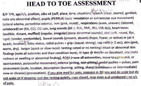 Head To Toe Assessment Documentation Http Allnurses Com