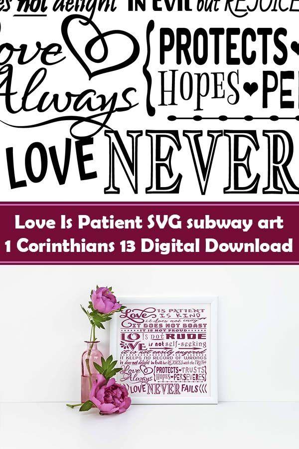 Download Love Is Patient SVG subway art, 1 Corinthians 13 - The ...
