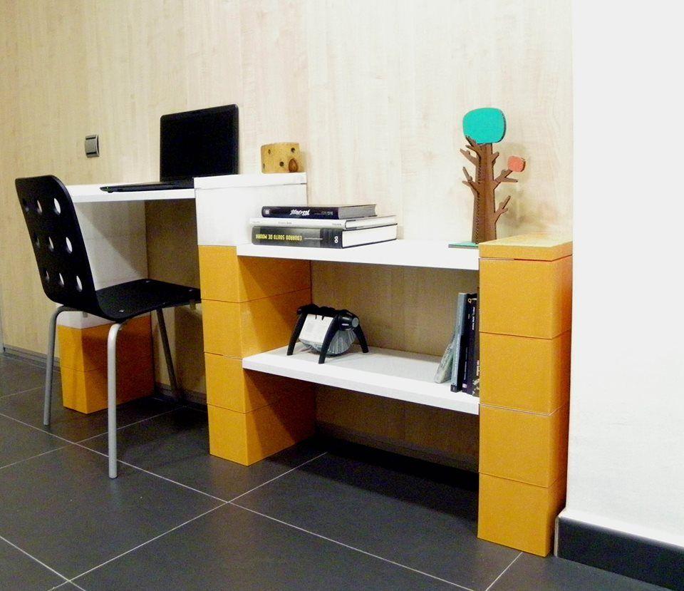 Escritorio, estantes, EverBlocks, modular, oficina, mobiliario ...