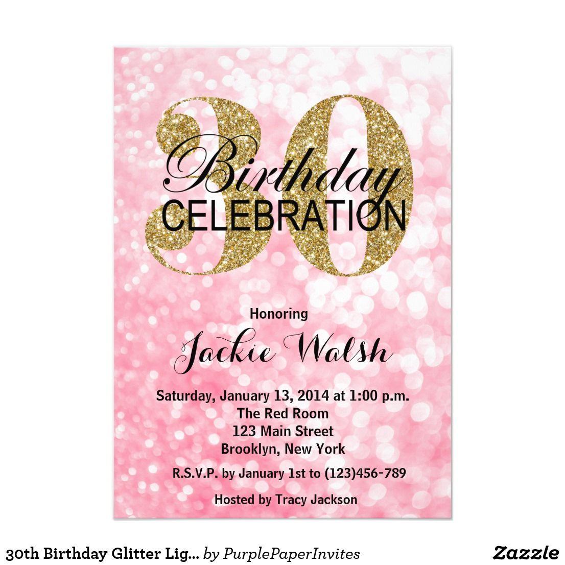 30th Birthday Glitter Lights Party Invitation | 30 birthday, Party ...