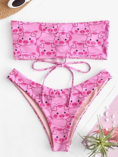 2d9ded12d  16% OFF   NEW  2019 ZAFUL Pig Print Lace-up Bandeau Bikini Set In PINK M
