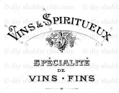 Furniture Decal Image Transfer Vintage Shabby Chic French Wine maker Sign Advert