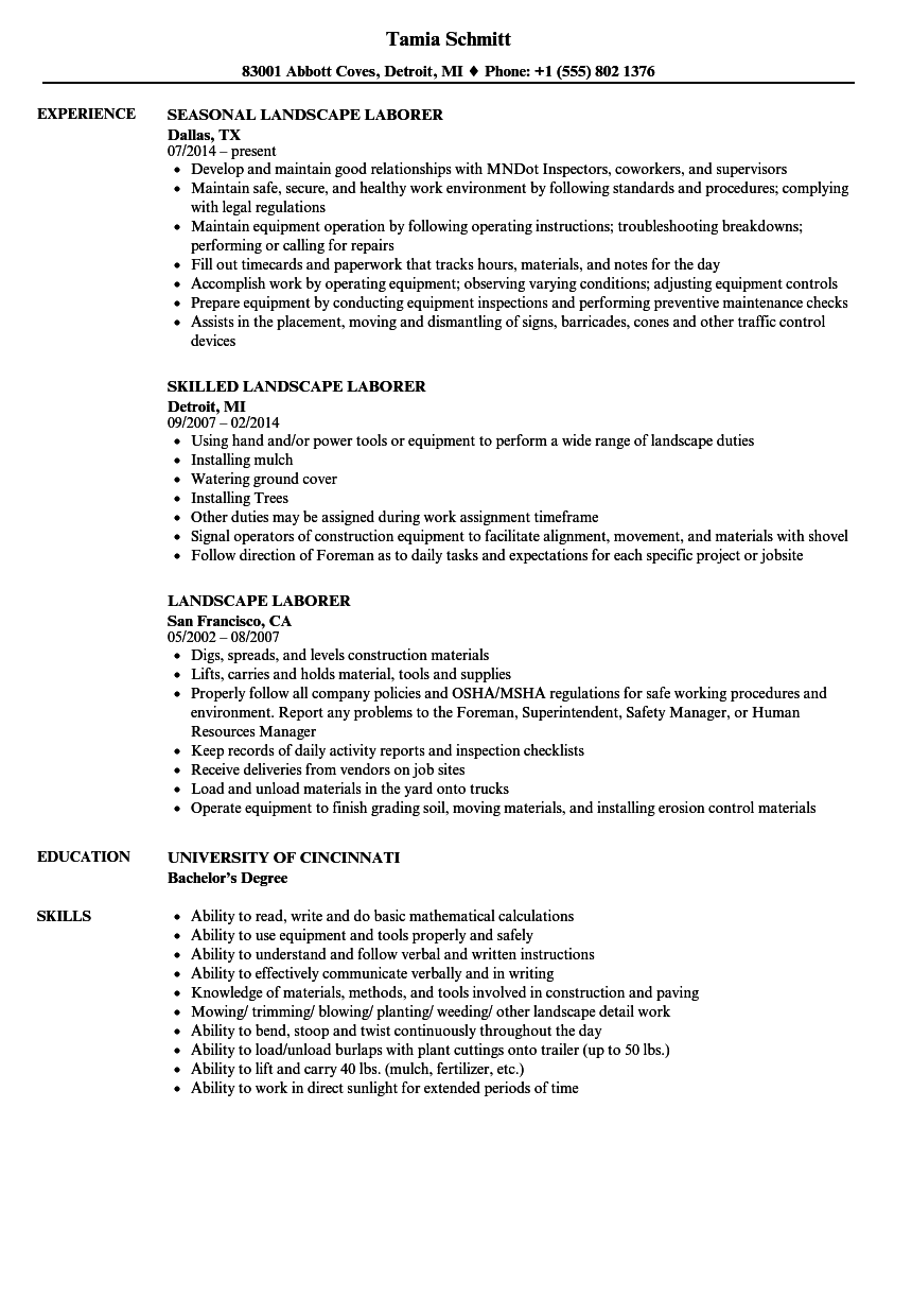 Resume Examples Landscaping Resume Examples Resume