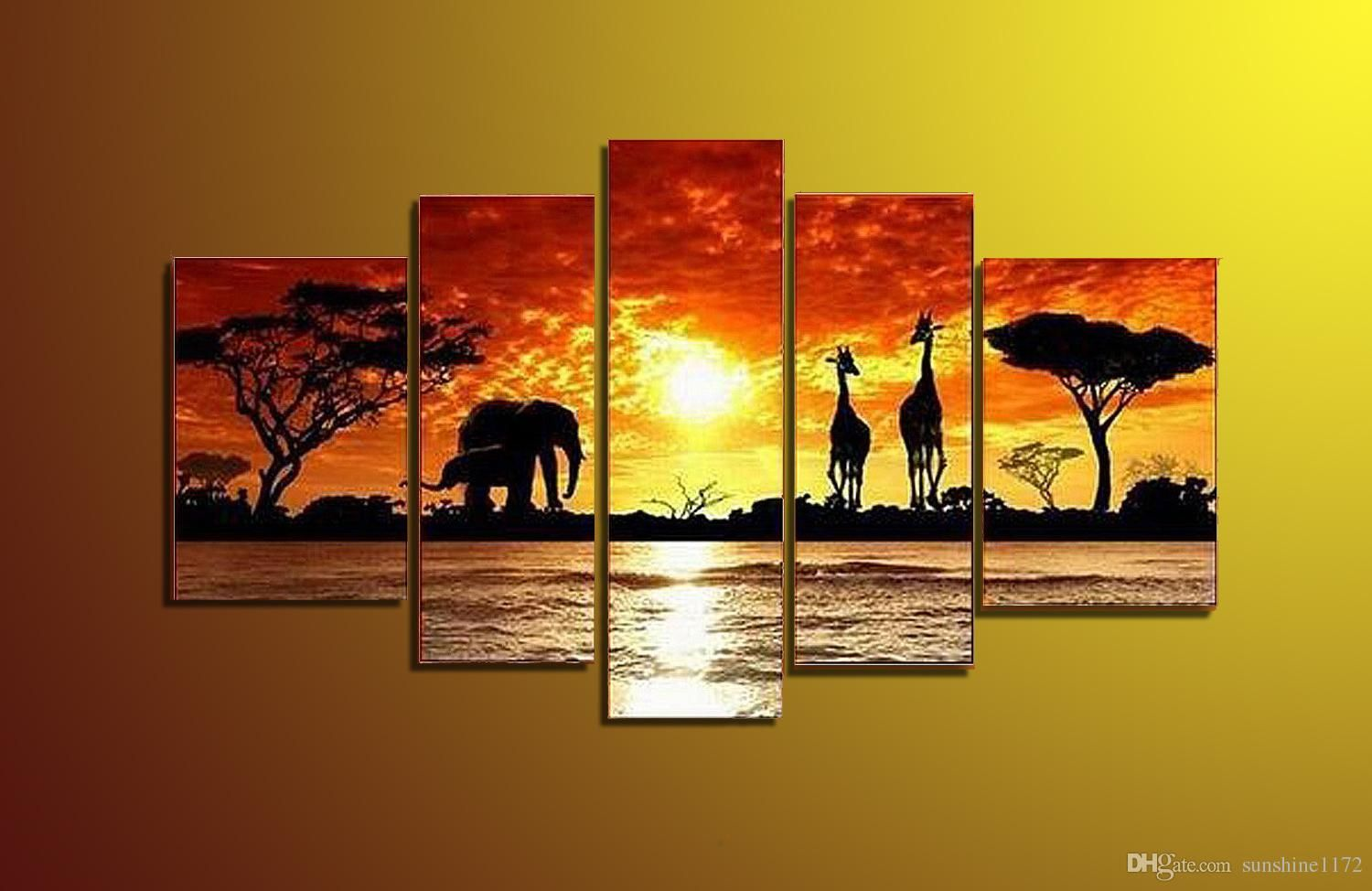 5 Panel Wall Art Decor Hand Painted Canvas Painting African Elephant ...