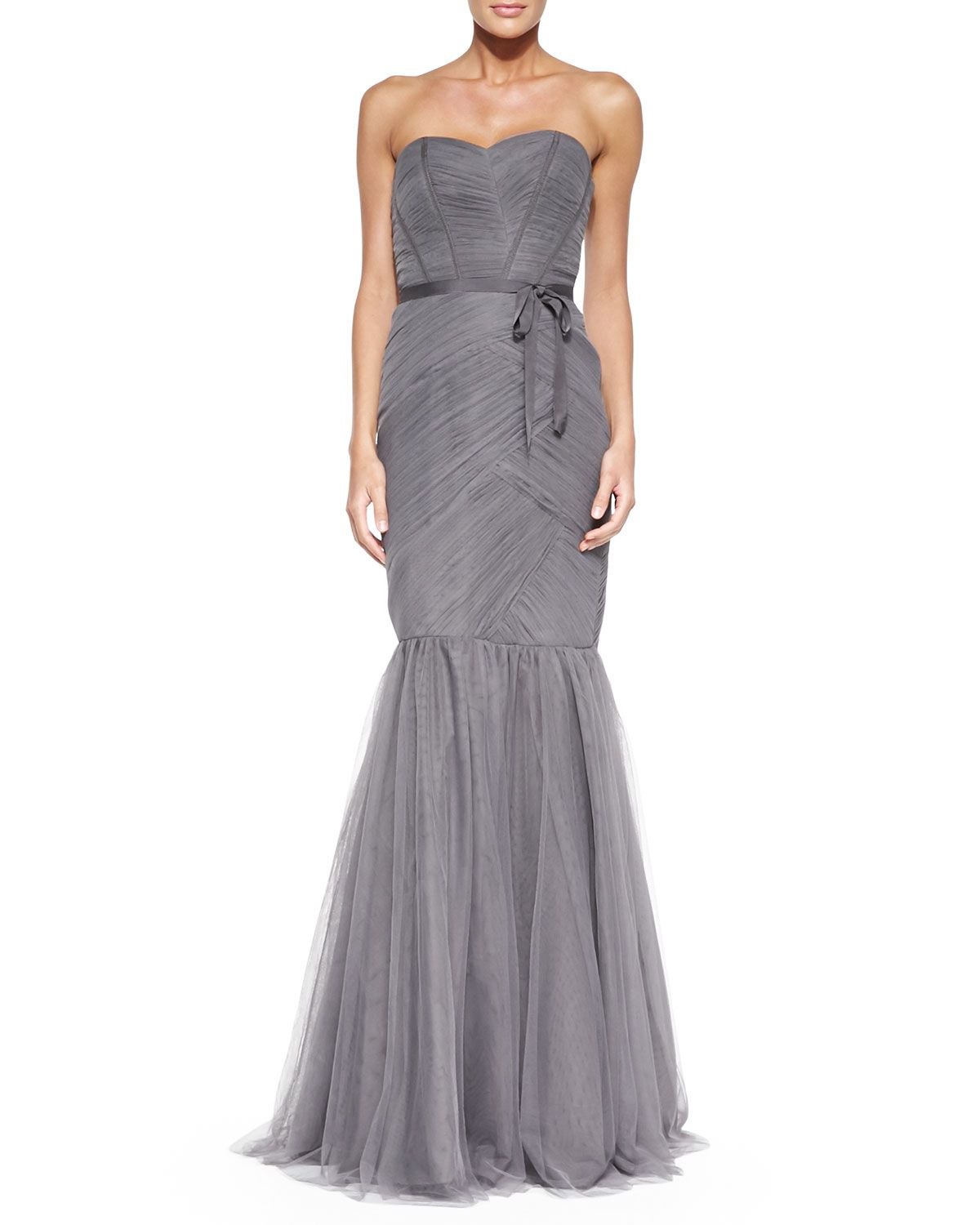 Strapless ruched tulle gown slate see best ideas about monique monique lhuillier bridesmaids strapless ruched tulle gown slate ombrellifo Image collections