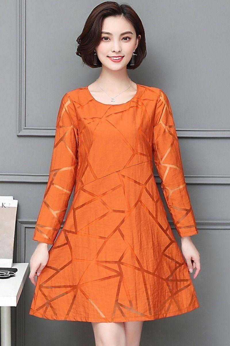 Casual Orange Black Solid Color Beach  summer Dress  women 2018 Chiffon O  Neck Long Short Sleeve New Loose Midi  dresses c117548f5