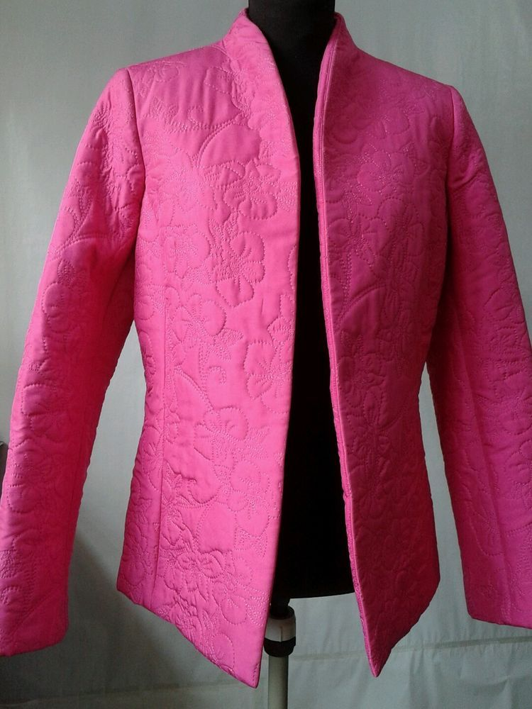 DANA BUCHMAN Hot Pink open front Jacket Blazer Quilted SILK size 2 ... : quilted silk - Adamdwight.com
