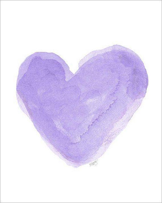 Purple Nursery Decor Watercolor Heart Art Print 8x10